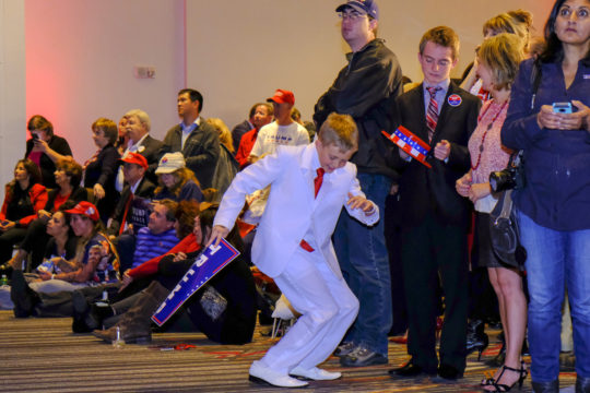 Dalton Walker, 13, dances during the GOP watch party Nov. 8, at the Doubletree Hotel in the Denver Tech Center. (Photo by Philip B. Poston/Aurora Sentinel)