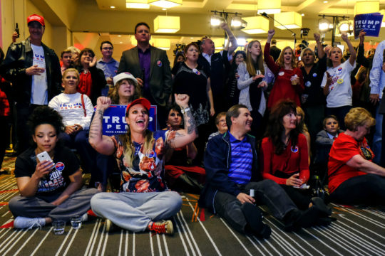 Trump supporters cheer as results pour in, during the GOP watch party Nov. 8, at the Doubletree Hotel in the Denver Tech Center. (Photo by Philip B. Poston/Aurora Sentinel)