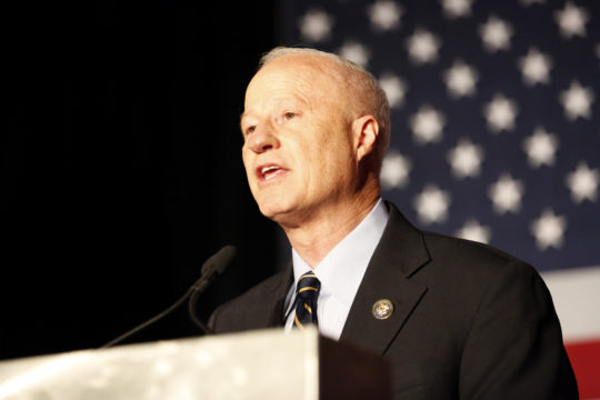 U.S. Representative Mike Coffman, who won his congressional district race, addresses to the crowd during the GOP watch party Nov. 8, at the Doubletree Hotel in the Denver Tech Center. (Photo by Philip B. Poston/Aurora Sentinel)