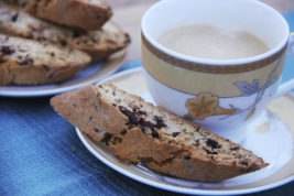 This Nov. 1, 2016 photo shows dark chocolate and rosemary biscotti in Coronado, Calif. This recipe for biscotti, the firm, dry Italian cookie, is flavored with dark chocolate and rosemary because they are classic winter flavors, (Melissa d'Arabian via AP)