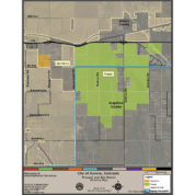 A map showing two housing developments, Prosper and Sky Ranch, that are in unincorporated Arapahoe County. Courtesy City of Aurora
