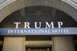 FILE - This Monday, Sept. 12, 2016, file photo, shows the exterior of the Trump International Hotel in downtown Washington. One thing you can count on during inauguration season in Washington: People of all stripes will find a reason to show up _ whether it's to celebrate or commiserate.  (AP Photo/Pablo Martinez Monsivais)