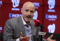 FILE - In a Wednesday, Nov. 18, 2015 file photo, Washington Nationals general manager Mike Rizzo speaks during a news conference at Nationals Park in Washington. Meeting with reporters Monday, Dec. 5, 2016, at baseball's winter meetings, Rizzo deflected a question about whether he's engaged Bryce Harper or agent Scott Boras about an extension for the slugger who was the 2012 NL Rookie of the Year and 2015 NL MVP.  (AP Photo/Carolyn Kaster, File)