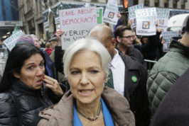 Jill Stein, the presidential Green Party candidate, arrives for a news conference in front of Trump Tower, Monday, Dec. 5, 2016, in New York. Stein is spearheading recount efforts in Pennsylvania, Michigan and Wisconsin.  (AP Photo/Mark Lennihan)