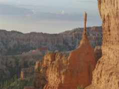 This undated photo provided by Joel Allen shows the iconic hoodoo known as The Sentinel in Bryce Canyon National Park, in Utah. Officials say the rock formation fractured at a point 2 feet in diameter, causing an approximately 15-foot-tall segment to fall. Snow has prevented rangers from locating the resulting debris. Based on visitor photos, park officials believe it broke Nov. 25, 2016. (Joel Allen via AP)