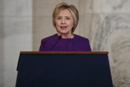 Former Secretary of State Hillary Clinton speaks during a ceremony to unveil a portrait of Senate Minority Leader Harry Reid, D-Nev., on Capitol Hill, Thursday, Dec. 8, 2016, in Washington. (AP Photo/Evan Vucci)