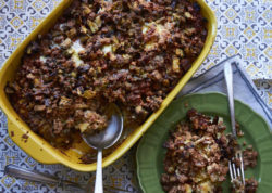 This November 2016 photo shows moussaka, an eggplant and meat casserole which is one of Greece's national dishes. This is from a recipe by Katie Workman. (Mia via AP)