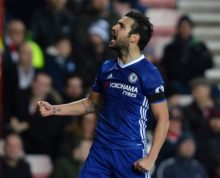 Chelsea's Cesc Fabregas celebrates after scoring his side's first goal against Sunderland in action during their English Premier League match at the Stadium of Light, Sunderland, England, Wednesday Dec. 14, 2016. (Anna Gowthorpe / PA via AP)