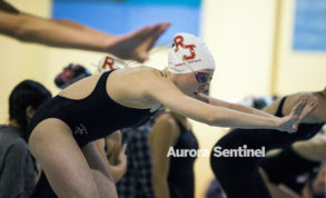 Regis Jesuit freshman Jada Surrell-Norwood prepares to finish the last leg of the 200 yard freestyle relay during the 2016 Coaches Invitational girls swim meet on Dec. 17, 2016, at the Veterans' Memorial Aquatics Center in Thornton. (Photo by Michael Ortiz/ Aurora Sentinel)  Photo by Michael Ortiz/ Aurora Sentinel