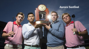 Regis Jesuit's Cal McCoy, Tyler Zhang, Justin Markel and Drew Anderson on Wednesday Oct. 26, 2016 at Regis Jesuit High School. Photo by Gabriel Christus/Aurora Sentinel