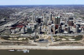 This March 17, 2016, aerial photo shows progress on the renovations of the Arch grounds continues in St. Louis. After long decline, St. Louis is trying to rebuild it's image with business start-ups and investing in major downtown projects. The city's image has taken a hit in recent years due to factors such as racial protests, the loss of the NFL's Rams and the departure of several Fortune 500 companies. (David Carson/St. Louis Post-Dispatch via AP)