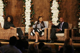 In this Sunday, Jan. 15, 2017, photo provided by Netflix, Filmmaker Ava DuVernay, center discusses her new Netflix documentary, `13th,' with Oprah Winfrey, left, and political commentator Van Jones in Los Angeles. The documentary examines the prison industrial complex and the disproportionately high number of black men in jail. (Eric Charbonneau/Netflix via AP)