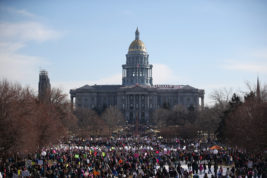 An estimated 200,000 people showed up at Civic Center Park for the Women's march on Denver on Saturday Jan. 21, 2017 in downtown Denver. Photo by Gabriel Christus/Aurora Sentinel