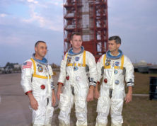 In this undated photo made available by NASA, from left, veteran astronaut Virgil Grissom, first American spacewalker Ed White and rookie Roger Chaffee, stand for a photograph in Cape Kennedy, Fla. During a launch pad test on Jan. 27, 1967, a flash fire erupted inside their capsule killing the three Apollo crew members. (NASA via AP)