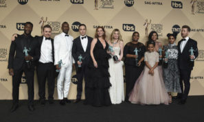 "Aldis Hodge, from left, Theodore Melfi, Mahershala Ali, Jim Parsons, Kimberly Quinn, Kristen Dunst, Octavia Spencer, Saniyya Sidney, Taraji P. Henson, Janelle Monae, and Glen Powell pose in the press room with the awards for outstanding performance by a cast in a motion picture for ""Hidden Figures"" at the 23rd annual Screen Actors Guild Awards at the Shrine Auditorium & Expo Hall on Sunday, Jan. 29, 2017, in Los Angeles. (Photo by Jordan Strauss/Invision/AP)"