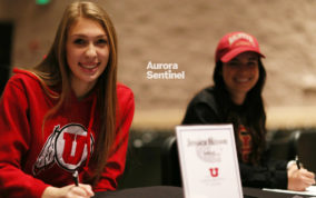 Jessica Hixon and Taylor Parker at the college signing on Tuesday Jan. 31, 2017 at Grandview. Photo by McKenzie Lange/Aurora Sentinel