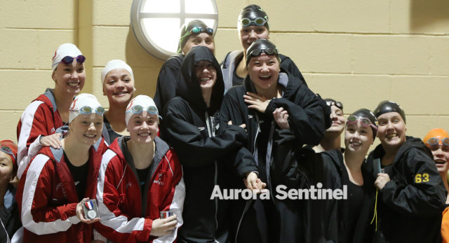 Regis Jesuit High School placed second in the 200 yard freestyle relay during the girls swimming 5A state championship on Friday Feb. 10, 2017 at Veterans Memorial Aquatic Center. Photo by Gabriel Christus/Aurora Sentinel