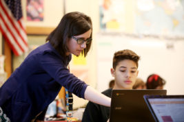 Samantha Westerdale helps Elias Rodriguez during Honors US History on Monday Feb. 13, 2017 at Rangeview High School. Photo by Gabriel Christus/Aurora Sentinel