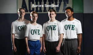Overland High School wrestlers, from left, Isaiah Bradley, Grant Bradley, Sean Kelly, and Kaelin Chin on Monday Feb. 13, 2017 at Overland High School. Photo by Gabriel Christus/Aurora Sentinel