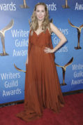"FILE - In this Sunday, Feb. 19, 2017 file photo, Allison Schroeder attends the 2017 Writers Guild Awards at the Beverly Hilton Hotel in Beverly Hills, Calif. The 2017 Oscar nominations were a banner year for black nominees both in front of and behind the camera, but other nonwhite groups and women were largely left out of the running. Only one woman was nominated in any screenwriting category, Schroeder for ""Hidden Figures,"" down from three last year, and, once again, no women were nominated for cinematography. (Photo by Richard Shotwell/Invision/AP, File)"