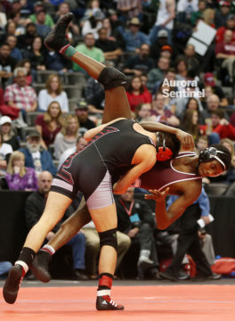Cherokee Trail High School's Josh Richardson wrestles Pomona's Jason Romero on Saturday Feb. 18, 2017 at Pepsi Center. Photo by Gabriel Christus/Aurora Sentinel