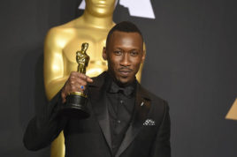 "Mahershala Ali poses in the press room with the award for best actor in a supporting role for ""Moonlight"" at the Oscars on Sunday, Feb. 26, 2017, at the Dolby Theatre in Los Angeles. (Photo by Jordan Strauss/Invision/AP)"