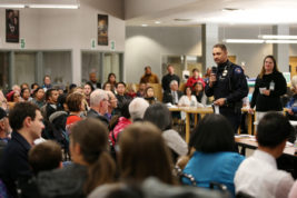 Aurora Police Chief Nick Metz speaks on a panel concerning immigrant policies, rights and mental health on Thursday Dec. 01, 2016 at Aurora Central High School. Photo by Gabriel Christus/Aurora Sentinel
