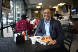 Adrian Miller is author of The President's Kitchen Cabinet on Monday Feb. 27, 2017 at Kirk's Soul Kitchen. Photo by Gabriel Christus/Aurora Sentinel