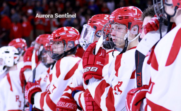Regis Jesuit High School's Blake Drnec reacts after losing to Monarch 2-1 on Monday March 06, 2017 at Magness Arena . Photo by McKenzie Lange/Aurora Sentinel