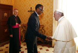 Pope Francis, welcomes Rwanda's President Paul Kagame during a private audience at the Vatican, Monday,  March 20, 2017. (Tony Gentile/Pool photo via AP)