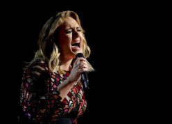 """FILE - In this Feb. 12, 2017, file photo, Adele performs """"Hello"""" at the 59th annual Grammy Awards in Los Angeles. Adele told a crowd in Auckland, New Zealand, Sunday, March 26, 2017, that her current tour may be her final one. (Photo by Matt Sayles/Invision/AP, File)"""