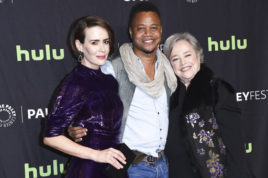 """Sarah Paulson, from left, Cuba Gooding Jr., and Kathy Bates attend the 34th annual PaleyFest: """"American Horror Story: Roanoke"""" event at the Dolby Theatre on Sunday, March 26, 2017, in Los Angeles. (Photo by Richard Shotwell/Invision/AP)"""