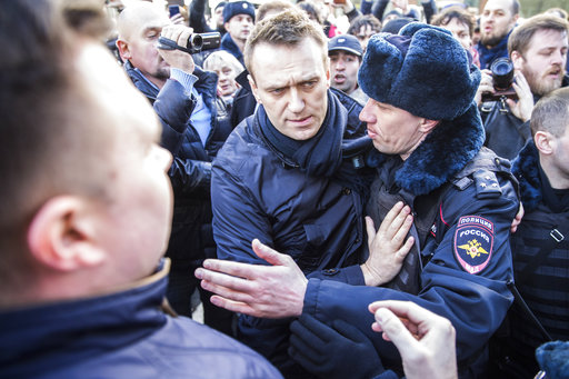 Russian opposition leader jailed on corruption charges, following protests