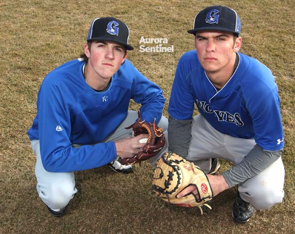 Grandview baseball players Kevin Gausman (left), pitcher, and Greg Bird, catcher, pose during practice March 9 at Grandview High School. (Heather A. Longway/ The Aurora Sentinel)