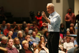 US Rep., Mike Coffman, speaks during a town hall meeting on Wednesday April 12, 2017 at Education Building 2 South in the CU Anschutz Campus. Coffman enacted strict rules for attendance and participation, but stayed an extra 45 minutes answering questions.  Photo by Gabriel Christus/Aurora Sentinel