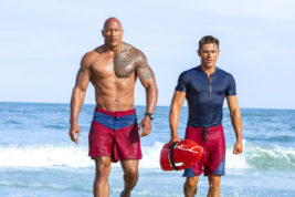 """This image released by Paramount Pictures shows Dwayne Johnson, Left, and Zac Efron in a scene from, """"Baywatch,"""" in theaters May 25. (Frank Masi/Paramount Pictures via AP)"""