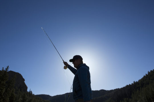 Nate McCord fly fishes in the Eleven Mile Canyon on the South Platte River.