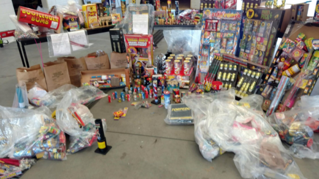 Aurora Fire posted this photo on Twitter earlier this week, calling it a sampling of all the fireworks that were confiscated during the July 4 holiday weekend in Aurora. (Courtesy Aurora Fire/Twitter)
