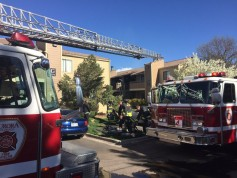Aurora fire crews work the scene of an apartment fire Sunday, April 24, 2016, on South Fulton Way in Aurora. (Photo courtesy of Aurora Fire Rescue)