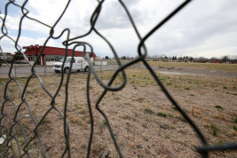 The field where the Fan Fare building once stood is seen Tuesday April 05, 2016 at Woody's Wings.Photo by Gabriel Christus/Aurora Sentinel