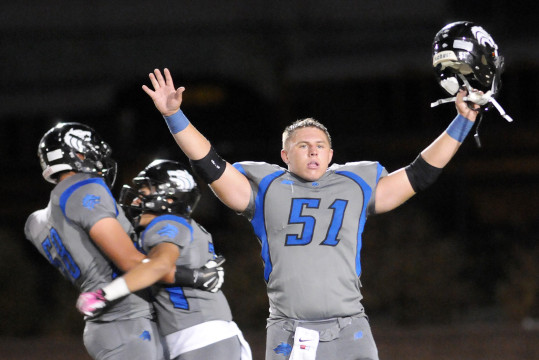 Ricky Hayes (51) and Grandview knocked off Valor Christian to win the Centennial League football championship last season. The Wolves and Eagles — who eeked out a win in the rematch when the teams met in the Class 5A state semifinals — meet again on Oct. 30, 2015, in a game to be televised by Altitude TV. (Photo by Courtney Oakes/Aurora Sentinel)