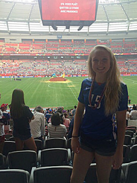 Sporting her No. 15 Megan Rapinoe jersey, Cherokee Trail junior-to-be Courtney Schmidt watched the U.S. women's national team beat Japan 5-2 in the 2015 FIFA Women's World Cup championship game on July 5, 2015, in Vancouver. (Photo courtesy Courtney Schmidt)