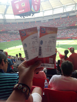 Brittney Lewis holds up the two free tickets she ended up with for the 2015 FIFA Women's World Cup championship final played on July 5 at BC Place in Vancouver. The Smoky HIll junior-to-be and soccer standout witnesses the U.S. women's national team beating Japan 5-2. (Photo courtesy Brittney Lewis)