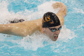 University of Texas sophomore Clark Smith, a Regis Jesuit High School graduate, is seeded in the top five of two events going into the March 26-28 NCAA men's swimming championships in Iowa City, Iowa. (Photo from Texassports.com)