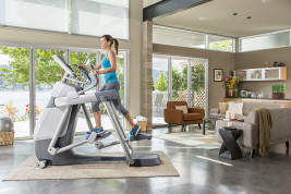 The AMT 835 with Open Stride has a price tag of $9,395 for a model that's exactly what would be found in a 24-Hour Fitness or other health club, with a footprint of just 3 feet by 7 feet. The do-it-all machine adapts instantly to the stride length of each new user within secondsa nd allows users to walk, run, climb and lunge, as well as use several sets of movable handlebars for weight training, all with a console that tracks all the users' vitals.