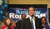 Andrew Romanoff at his Election Night campaign headquarters as he gives a concession speech to Congressman Mike Coffman PHOTO BY MARLA KEOWN