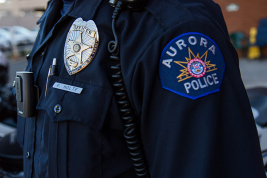Officer Ed Nolte's VIEVU camera is part of his uniform that he dons before going out on patrol, Sept. 16 at the Aurora Police Headquarters. The city's 2015 budget calls for outfitting 440 police officers with body-worn cameras. (Marla R. Keown/Aurora Sentinel)