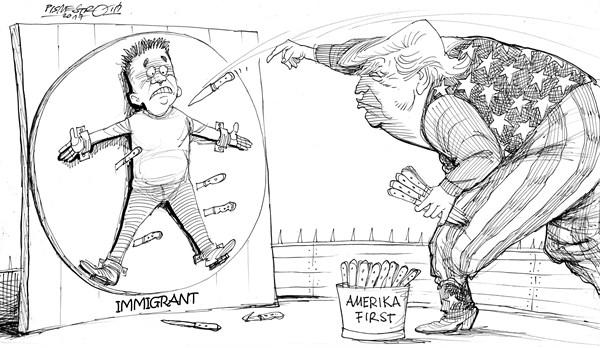 karikatur für tribüne-messerwerfer