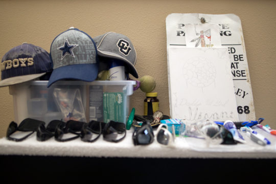 Personal belongings of a resident at the Bridge House in Boulder rest on a dresser in one of the quad rooms available at the facility. Photo by Philip B. Poston/Aurora Sentinel