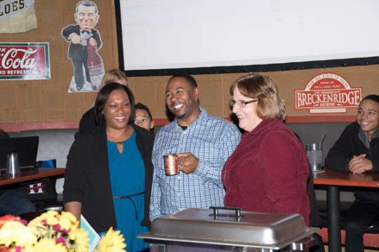 From left, Kyla Armstrong-Romero, Marques Ivey and Debbie Gerkin at the APS School Board Election Watch Party Nov. 7 at Legends Sports Bar.Photo by Philip B. Poston/Aurora Sentinel